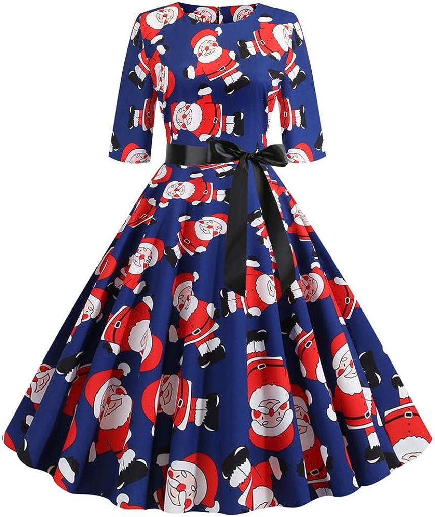 VEMOW Damen 1//2-Arm Weihnachtskleid Frauen Rundausschnitt Vintage Eleganten Kleid Party Clubbing Karneval Kleid Weihnachts Rock Rockabilly Kleid