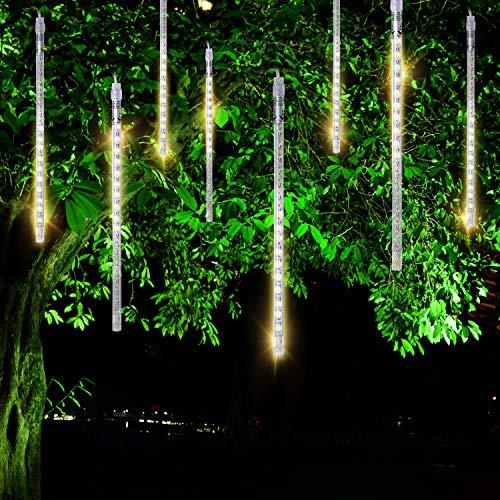 (FYYZY Meteor Shower Rain Lights Christmas LED Decoration Falling Drop String Light Icicle 8 Tube (Warm White, 30cm))