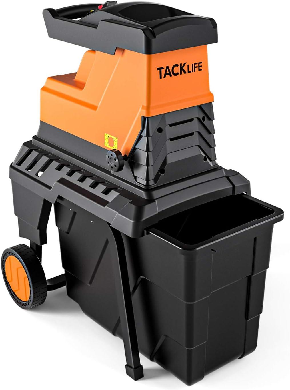 takee Biotrituratore de jardín Tacklife, Potencia de 2800 W, Capacidad de Corte máxima de 45 mm, Caja de recolección de 60 litros, Motor silencioso de inducción, 2 años de garantía PWS01A