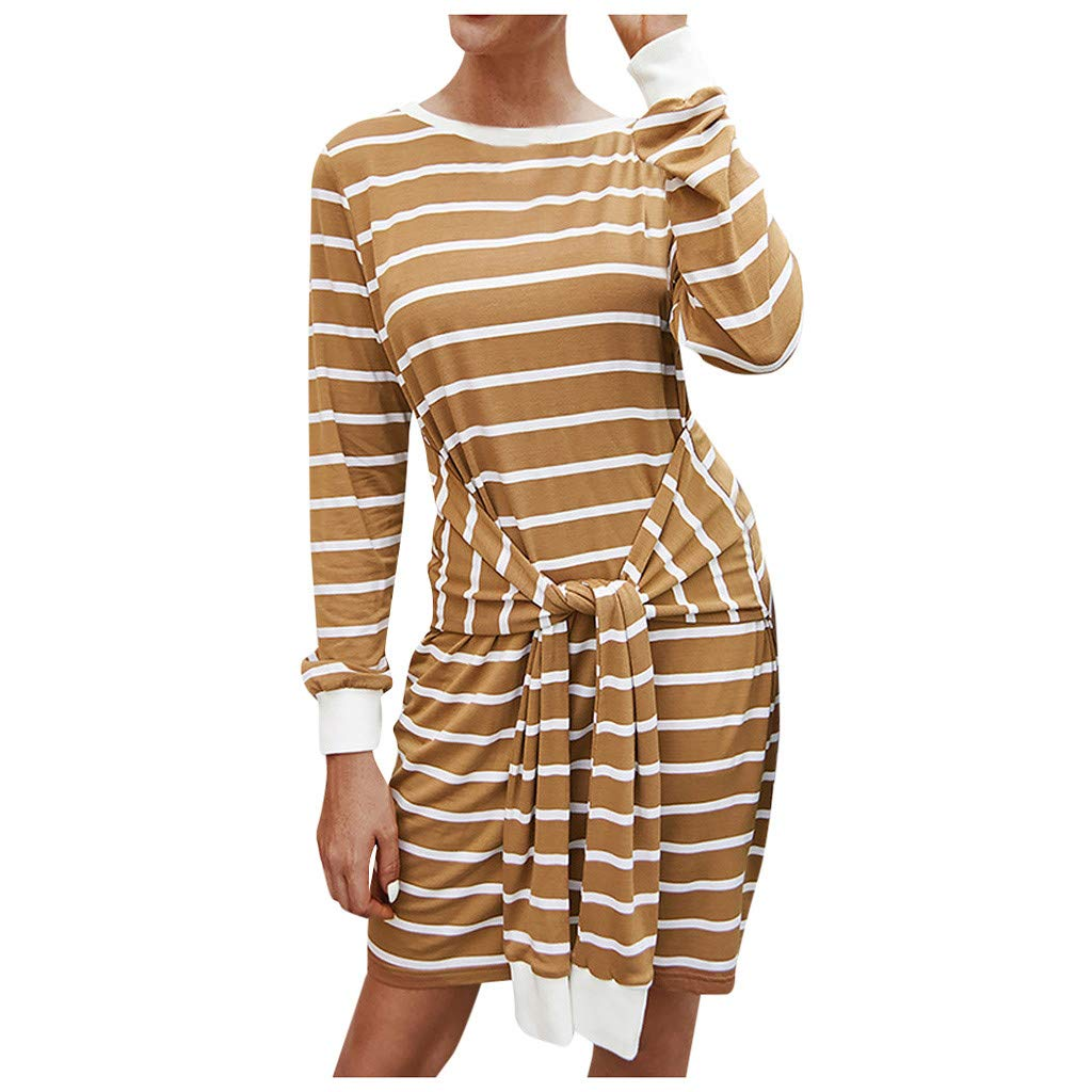 Willow S Women's Knitted Striped Dresses Autumn Long Sleeve Round Neck Front Tie with Soft Straight Dress Mini Dress Yellow by Willow S