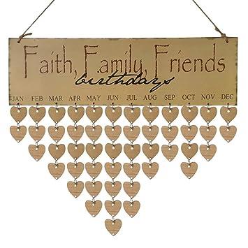 Birthday Calendar PlaqueSunfei Wood Reminder Board Birch Ply Plaque Sign Family Friends DIY
