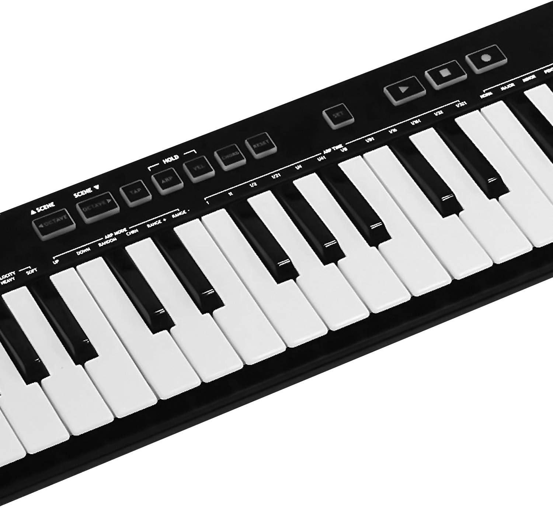Teclado controlador de la marca MIDIPLUS, modelo MIDI AKM322, con puerto USB