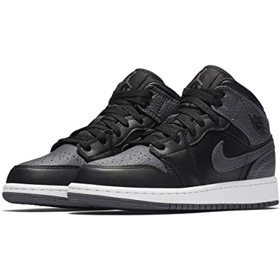 552fae2e16f Jordan Kids AIR Jordan 1 MID (BG) Black Dark Grey Summit White Size 5.5