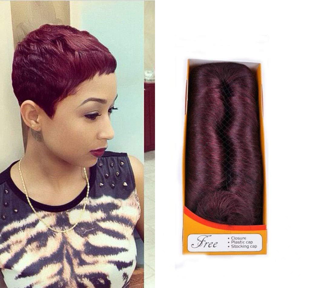 JZYQYH Burgundy 27 Piece Hair Extensions Short Dump Wave Hair with Top Closure, 99J Wine Red Brazilian Vigin Human Hair Extension (99J)
