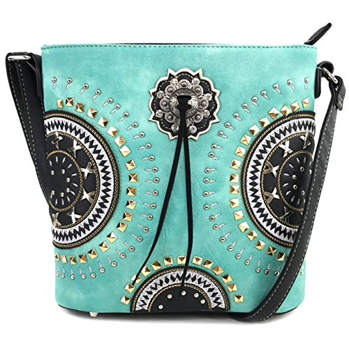 Justin West Native American Circle Mountain Gold Studs Embroidered Studded CCW Concealed Carry Shoulder Purse Handbag (Turquoise Messenger Only)