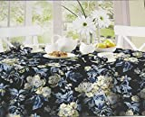 WAVERLY Easy Care Fabric Tablecloth -Forever Yours Blue 100% Polyester Assorted Sizes (60 x 102)