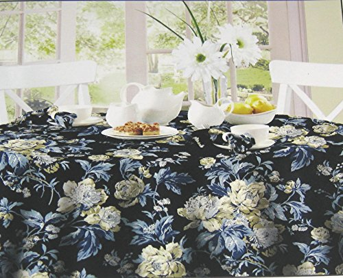 (WAVERLY Easy Care Fabric Tablecloth -Forever Yours Blue 100% Polyester Assorted Sizes (60 x 102) )