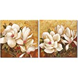 Pyradecor Magnolia Flowers Modern 2 Piece Stretched and Framed Floral Giclee Canvas Prints Oil Paintings Artwork Style Brown Pictures on Canvas Wall art for Living Room Bedroom Home Decorations