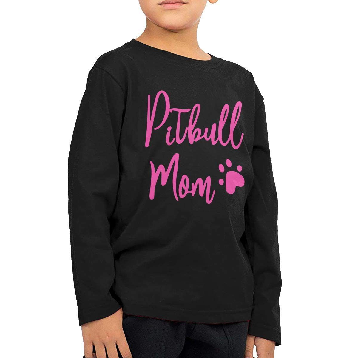 CERTONGCXTS Little Boys Pitbull Mom Dog ComfortSoft Long Sleeve Shirt