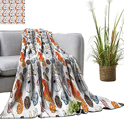 YOYI Soft Blanket Microfiber Bunch of Deep Sea Elements with Screw Shell Crabs Urchin Oyster Coral Ammit Easy Travel 60