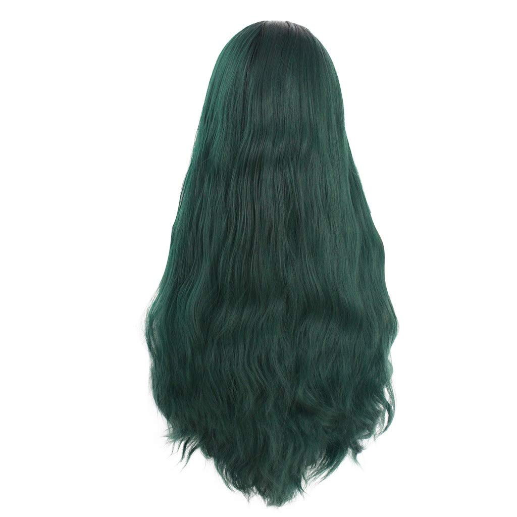 Tigivemen Curly Wave Wavy Dark Green Lady Guy Wigs, Women Long Lace Front Synthetic Wig for Cosplay