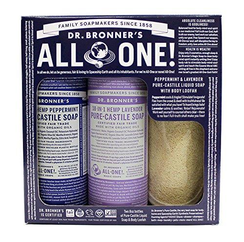 Dr Bronners, Liquid Soap Gift Set Peppermint Lavender Scrub Pad Organic, 16 Fl Oz ()