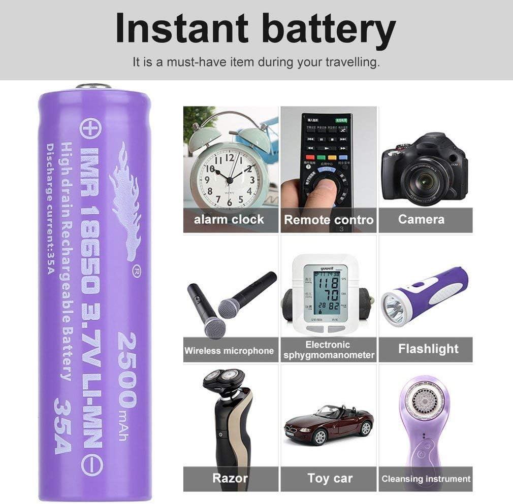 2pc 18650 Battery LI-MN 3.7V 2500mAh niple Button top High Capacity Cylindrical 18650 Battery for LED Flashlight Torch Camera Electronic Tool Purple