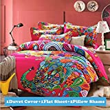 Ttmall Full Queen Size 100% Cotton 3d Bohemian Boho Style Colorful Peacock Feather Animal Prints Duvet Cover Set/bed Linens/bed Sheet Sets/bedclothes/bedding Sets/bed Sets/bed Covers/5-pieces Comforter Sets/bed in a Bag (Full, 4pcs without comforter)