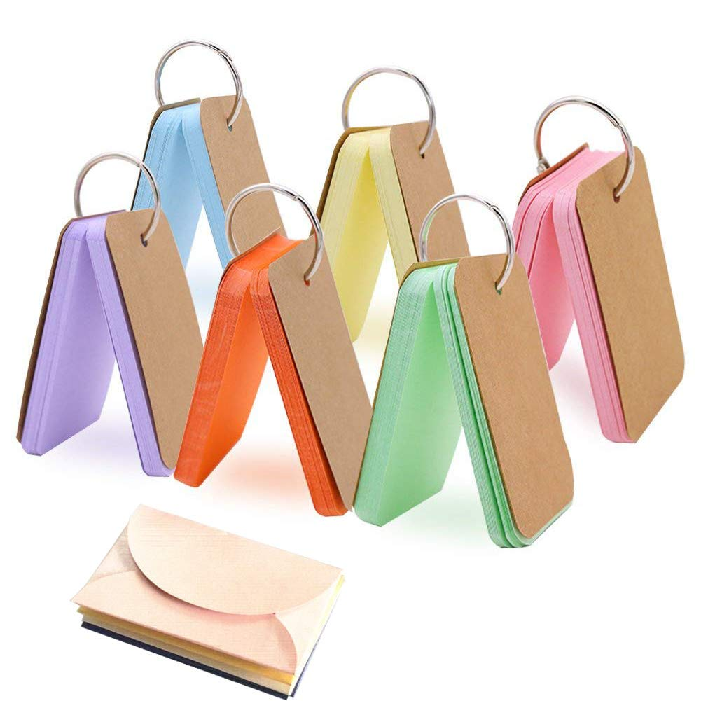 Study Cards, 300 Pieces Flash Card Assorted Colors DIY Greeting Card Index Card Bookmark Binder Rings Kraft Paper Blank with Envelope(50 Sheets Per Set)