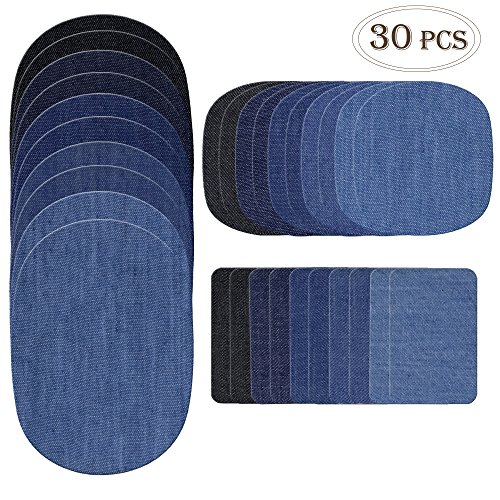 Outuxed 30pcs Iron on Denim Patches Fabric Patches for Clothing Jeans, Iron on Repair Kit by Outuxed, 5 Colors, 3 Sizes(4.9