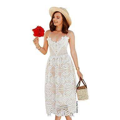 8b577aa9d0d0 Chicwish Women s White Cross Back Crochet Eyelet Cami Midi Dress at ...