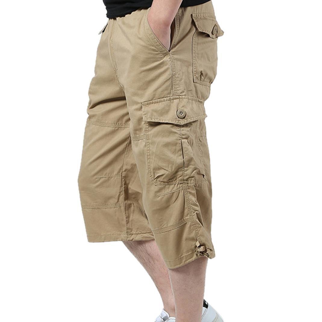 ADESHOP Hommes Saison D/éT/é L/âChe Tour De Taille Pantalon Court Hommes Multi-Poches Pantalons Casual L/âChe 7 Pantalons Hommes Mode Outdoor Couleur Pure Shorts Taille M /à 3XL