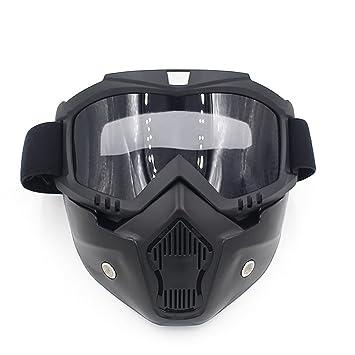 a073f4413a Deylaying Moda Unisex Desmontable Modular Mascarilla Shield Riding Goggles Motocicleta  Casco Esquí Gafas Máscara del Moto Filte de Boca para Hombres y ...