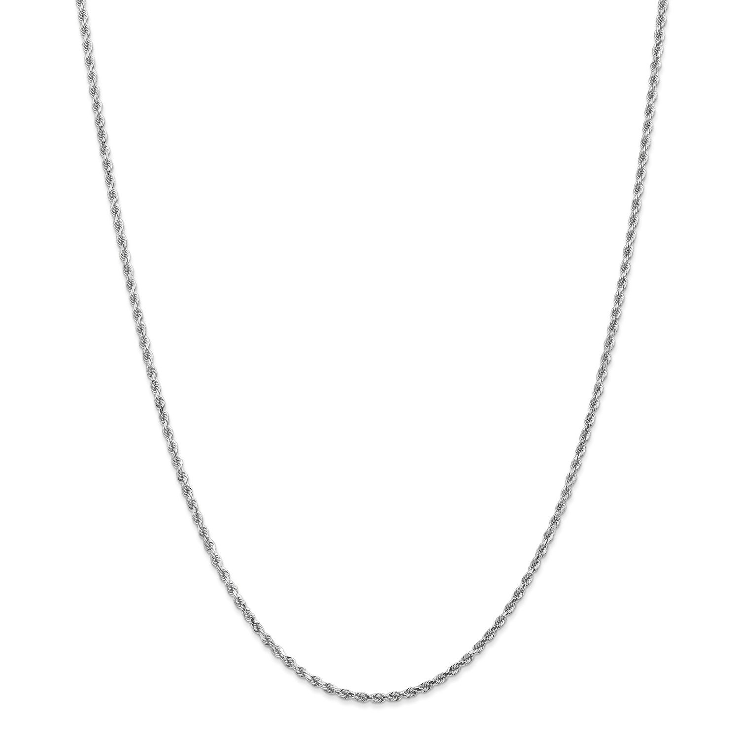 Roy Rose Jewelry Leslies 14K White Gold 2mm Diamond Cut Rope Chain Anklet Bracelet ~ Length 10'' inches