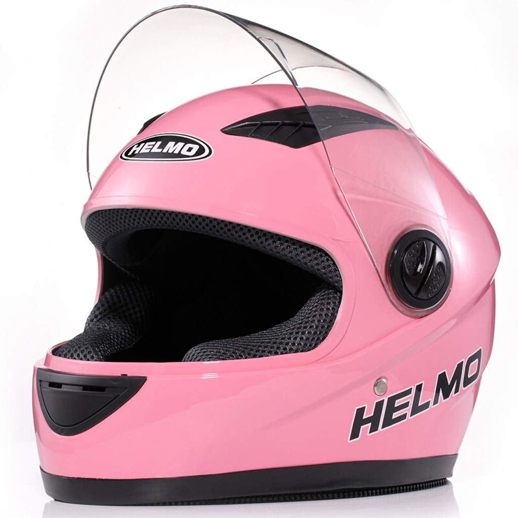 Color : Blanco, Tama/ño : Transparent Lens HJL Casco de Motocicleta Hombres y Mujeres Casco de Cubierta Completa Locomotora Todoterreno Four Seasons Racing Casco Lente Transparente