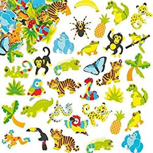 Baker Ross- Pegatinas de Espuma con Diseños de la Selva (Pack de 100) para Decorar Tarjetas, Cuadernos, Manualidades y Collages Infantiles: Amazon.es: Juguetes y juegos