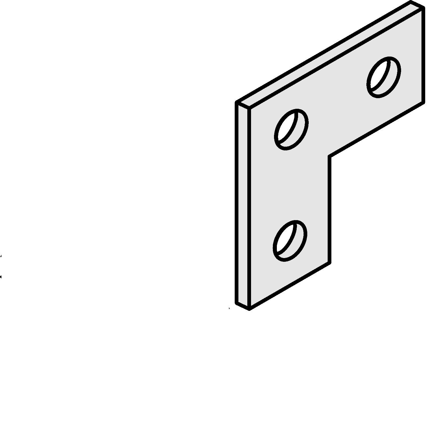 Versabar VF-1301 Flat 3 Hole ''L'' Connector for 1-5/8'' Channel Zinc Plated 5/BX