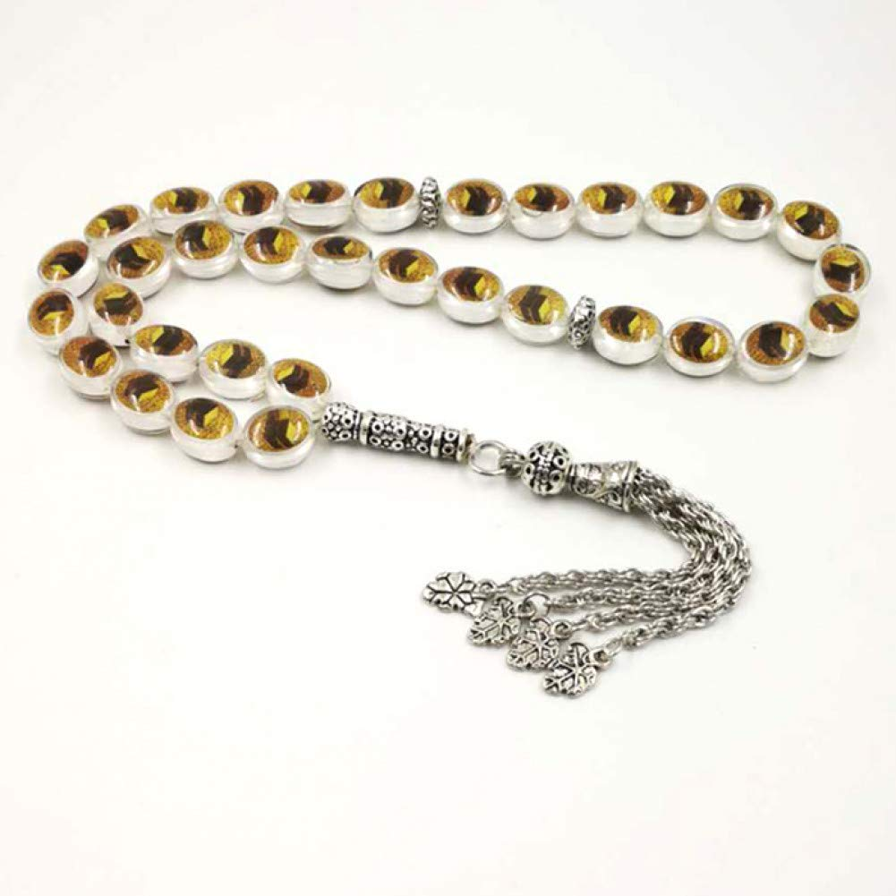 DUOJINZ Style Tasbih Kaaba Pattern Yellow White Black Tasbeeh Islamic 33 Prayer Beads Muslim Rosary Man Or Women