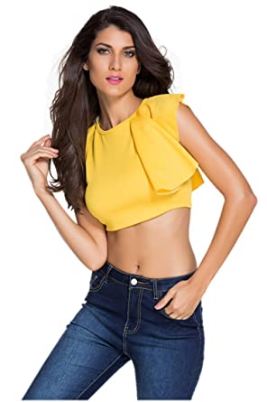 9708597da5dc Designer97 Womens Single Shoulder Ruffle Falbala Crop Tops Sleeveless  Camisole Women Blouses Large Yellow