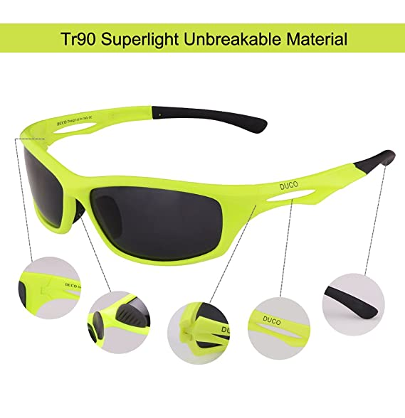 f08eaae671 Amazon.com  DUCO Polarized Sports Sunglasses for Running Cycling Fishing  Golf TR90 Unbreakable Frame 6199  Clothing