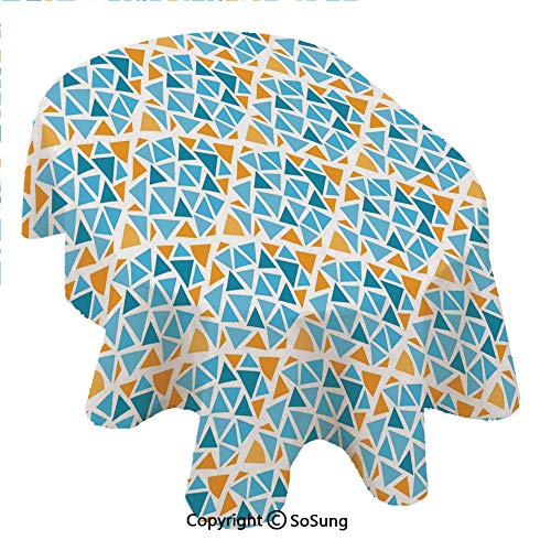 (Yellow and Blue Oval Polyester Tablecloth,Diamond Shaped Triangle Geometric Fractal Mosaic Traditional Motif,Dining Room Kitchen Oval Table Cover, 60 x 84 inches,Aqua Teal Marigold)
