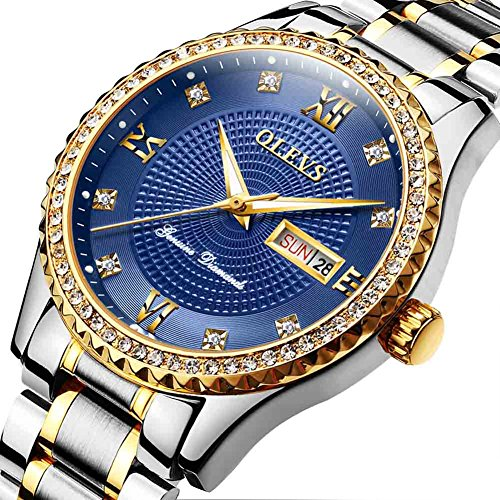 Mens Quartz Watch Stainless Steel Sports Watches for Men,Waterproof Analog Wrist Watch Round Blue Dial,Alloy Case Diamond Watches Automatic Calendar Week Display Classic Wrist Watches,Big Face,Freely