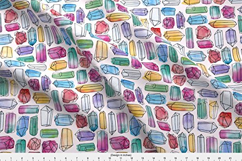 Logan Stone (Spoonflower Watercolour Fabric Watercolor Gemstones (Medium) by Logan Spector Printed on Kona Cotton Ultra Fabric by the Yard)