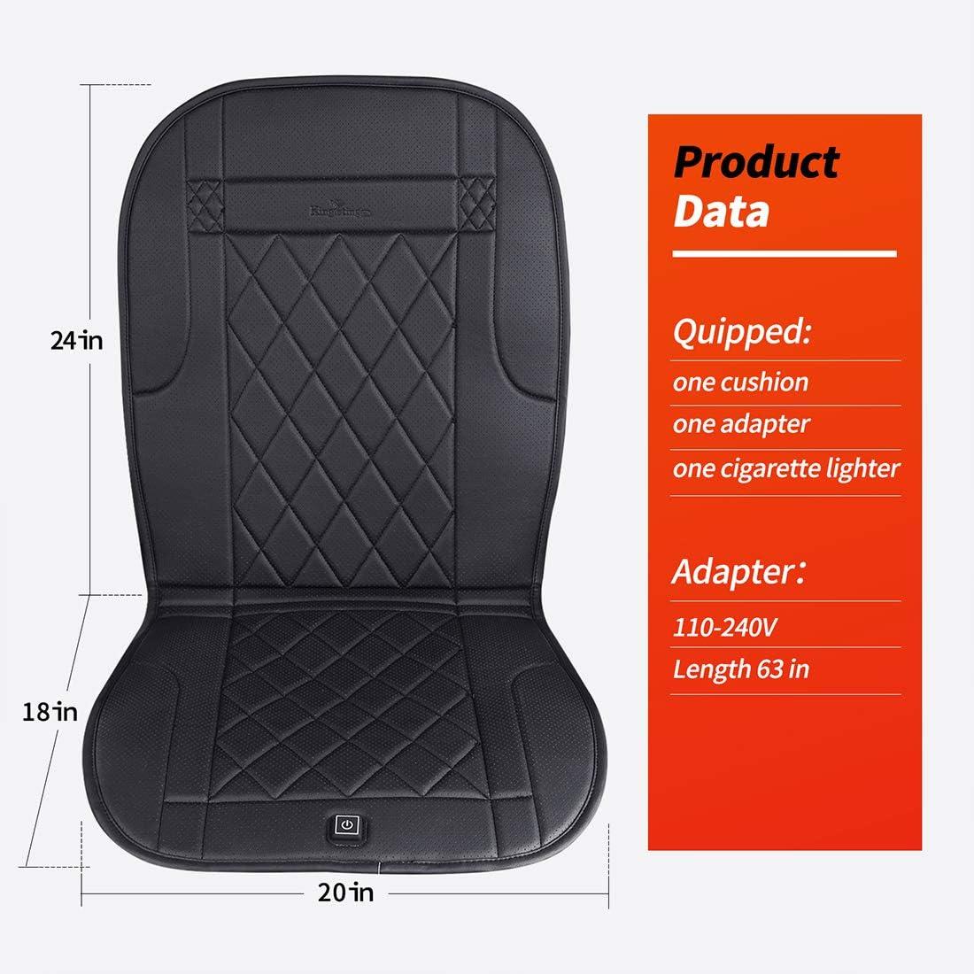 KINGLETING Beheizte Sitzkissen mit Druckempfindlichem Schalter f/ür Meist Auto 12Volt, Schwarz