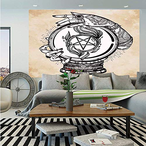 Occult Decor Wall Mural,Illustration of Medium Crystal Ball for Mystery Future Fortune Psychic Powers,Self-Adhesive Large Wallpaper for Home Decor 55x78 inches,Tan Black