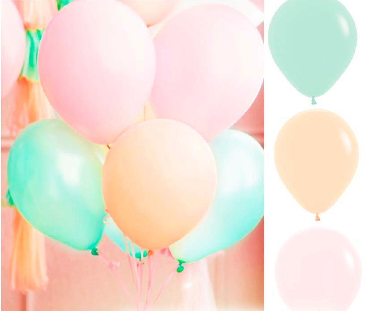 60 Ct Mixed 10'' Pastel Peach Pink Mint Green Latex Balloon Wedding Birthday Christening Girl Baby Shower Party Decoration