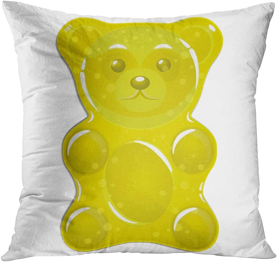 Qryipd Bears Throw Pillow Cover Jelly Yellow Bear Gummy Sugar Animal Assorted Blue Blueberry Comfortable Print Living Room Car Sofa Bedroom Polyester Pillowcase Home Decor Cushion Case 20x20 Inch