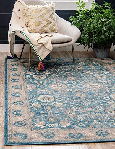 Unique Loom Salzburg Collection Traditional Oriental Light Blue Area Rug 8 0 x 11 0