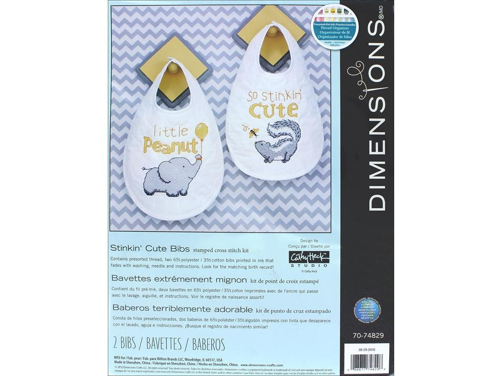 Dimensions Stamped Cross Stitch 'Stinkin Cute' Skunk and 'Little Peanut' Elephant DIY Baby Bibs, 2 pc., 9