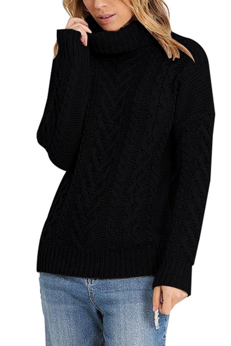 Pink Queen Women's 100% Cotton Turtleneck Aran Ribbed Cable Knit Pullover Sweater Black L