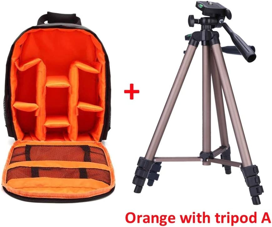 He-lanshangmaobu Fashion Camera case Durable Camera Backpack DSLR Camera Bag Water-Resistant Multi-Functional Breathable Camera Bag for Nikon Canon Sony Camera Bag Color : Orange with Tripod B