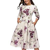 Vestido para Mujeres Elegante Mini Cuello Redondo Vestido Floral Cóctel Vintage Vestido Clásico Manga Larga Talla Grande