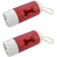 CALIDAKA - 2 unidades con luz LED para perros con mosquetón de metal, soporte portátil a prueba de fugas (longitud: 9,9…