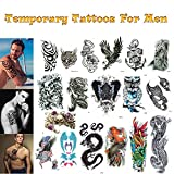 Companion Company Realistic Ink Temporary Tattoos Mix For Men and Boys (XL full arm, medium and small size mix). 18 Colorful Sheets