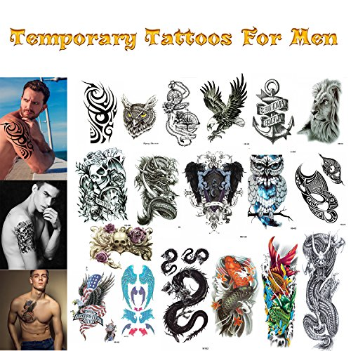 Eagle Temporary Tattoo (Realistic Ink Temporary Tattoos Mix For Men and Boys (XL full arm, medium and small size mix). 18 Colorful Sheets By Companion Company)