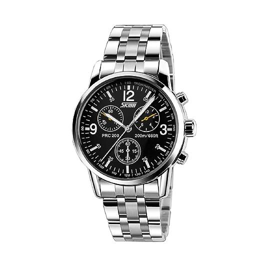 Malloom® Hombres de acero inoxidable Banda de cuarzo analógico reloj del deporte negro: Amazon.es: Relojes