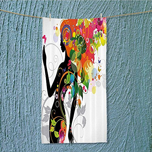Madame Butterfly Fabric - Custom Cotton Microfiber Ultra Soft Towels/Hand Towel,Madame Butterfly Version with Spring Spira Circles Leaf Botany Gir Fabric Set with H Unisex towels for Beach, Pool or Bath!(11.8x27.5 INCH)
