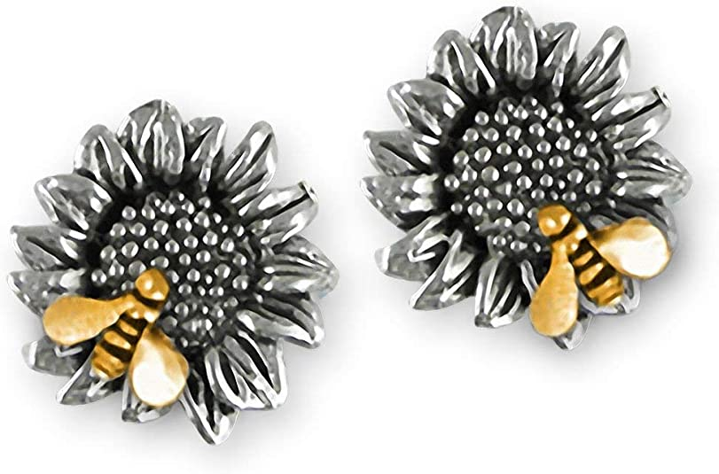 Sunflower Jewelry Sterling Silver Handmade Sunflower With Bee Earrings  SFTX2-BE