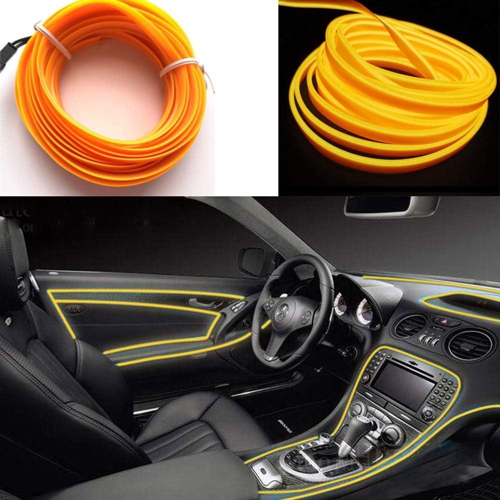 El Wires Car Kit 5m//16ft Kalte Innenausstattung Helles Auto Dekorative Atmosph/äre Neonlicht R/öhre Kreis Bis Zu 360 Grad Mit Zigarette Blau