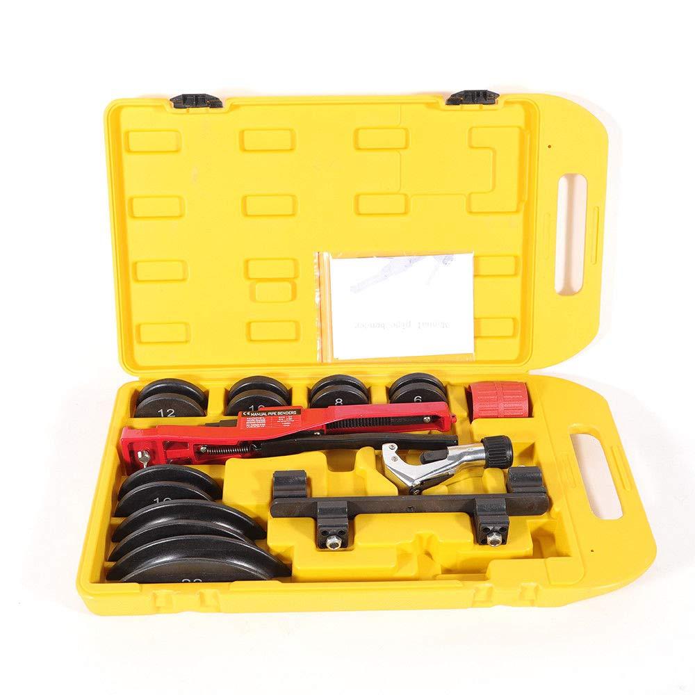 Multi Manual 6-22mm Metal Pipe Tube Bender Tool Kit 1/4'-7/8' W/ 7 Dies Stainless Copper Set PRIT2016